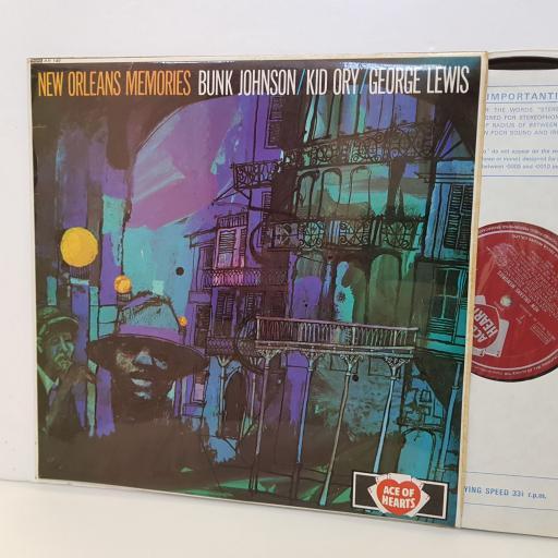 """BUNK JOHNSON, KID ORY, GEORGE LEWIS New orleans Memories. MONO AH140. 12"""" vinyl LP."""