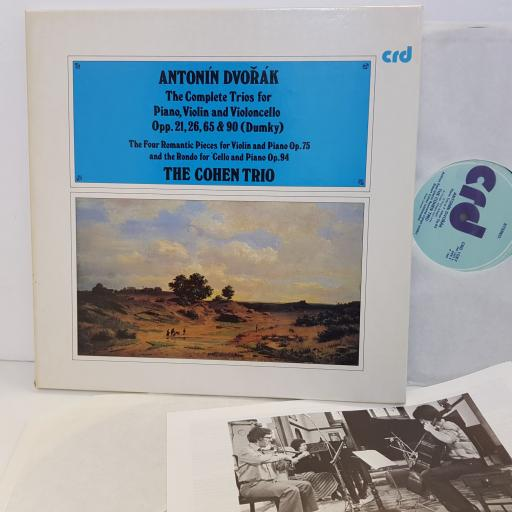 "ANTONIN DVORAK The complete Trios For Piano, Violin and Violoncello Opp.. 21, 26, 65 & 90 Dumky. THE COHEN TRIO CRD1086. 3 X 12"" vinyl LP"