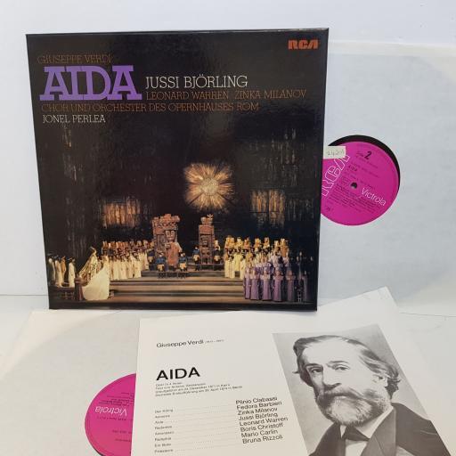 "Verdi - Aida - Jussi Bjorling, Leonard Warren, Zinka Milanov, Choir & Orch. Opera House, Roma, Jonel Perlea, RCA Victor VIC 6119 1-3 Mono, Box 3Lp, 1955. 12"" vinyl LP"