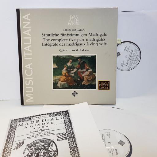 """DAS ALT WERK CARLO GESUALDO, SAMTLICHE FUNFSTIMMIGEN MADRIGALE. THE COMPLETE FIVE-PART MADRIGALES. SLJA25086. 7 X12"""" vinyl LP"""
