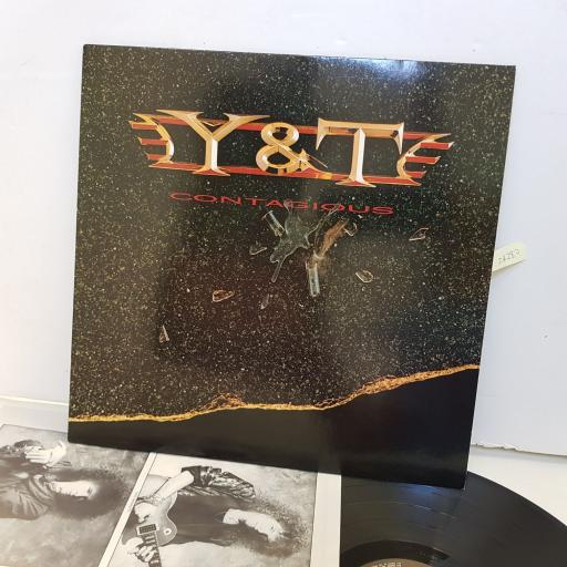 "Y & T . contagious. 9241421. 12"" vinyl LP"