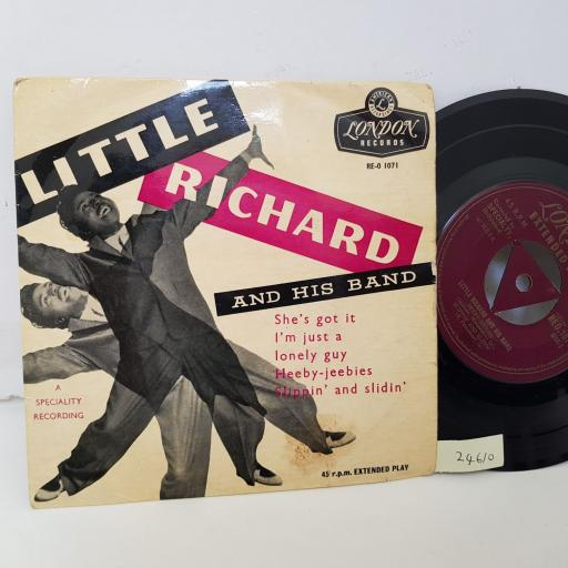 "LITTLE RICHARD AND HIS BAND HEEBY JEEBIES. SHE'S GOT IT. i'M JUST A LONELY GUY. HEEBY JJEBIES. SLIPPIN' AND SLIDIN'. 7"" vinyl EP. RE01071."