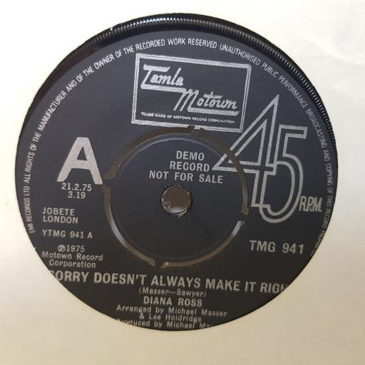 DIANA ROSS sorry doesn't always make it right. together. 7 inch vinyl. TMG941