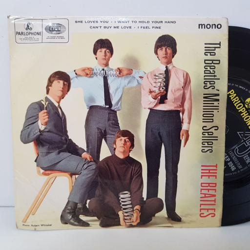 THE BEATLES Million sellers. SHE LOVES YOU. I WANT TO HOLD YOUR HAND. CAN'T BUY ME LOVE. I FEEL FINE. 7 inch vinyl EP. GEP8946