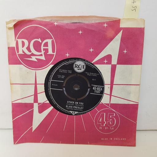 "ELVIS PRESLEY STUCK ON YOU. fame and fortune. 7"" vinyl 45RCA1187"