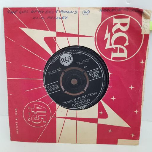 ELVIS PRESLEY A mess of blues, The girl of my bestfriend. 7 inch single vinyl. RCA1194