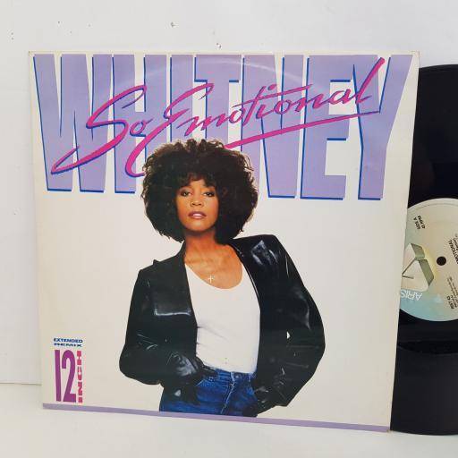 """WHITNEY HOUSTON so emotional. 3 track 12"""" vinyl SINGLE. RIST43"""