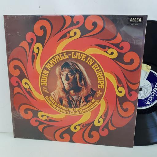 "JOHN MAYALL live in Europe 12"" vinyl LP. GHS528"