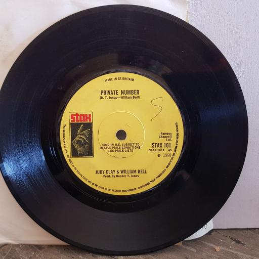 "JUDY CLAY and WILLIAM BELL private number. love eye tis. 7"" vinyl SINGLE. STAX101"