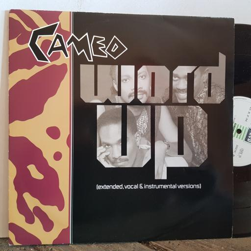 """CAMEO word up. EXTENDED VOCAL and INSTRUMENTAL VERSIONS. 4 TRACK VINYL 12"""" single. JABX38"""