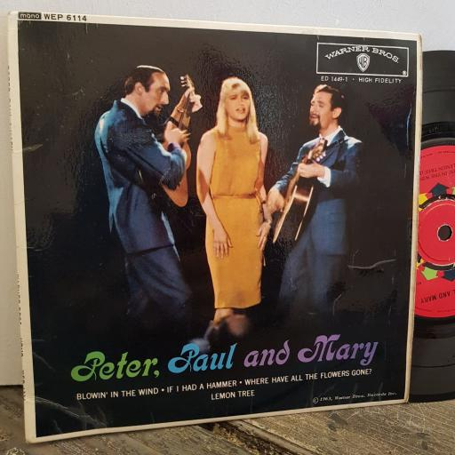 """PETER PAUL and MARY blowin' in the wind. 4 TRACK 7"""" vinyl EP. WEP6114"""