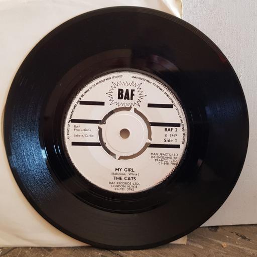 "THE CATS my girl. the hog. 7"" vinyl SINGLE. BAF2"
