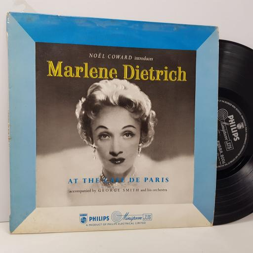 "MARLENE DIETRICH At the cafe de paris, 10"" vinyl LP. BBR8006"