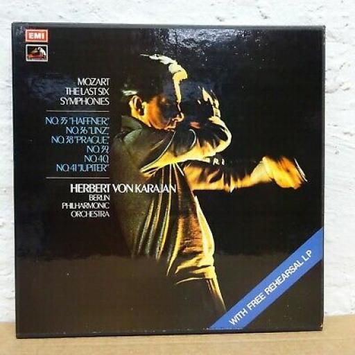 """MOZART, HERBERT VON KARAJAN, BERLINER PHILHARMONIKER The last six symphonies, 4x 12"""" LP. SLS809."""