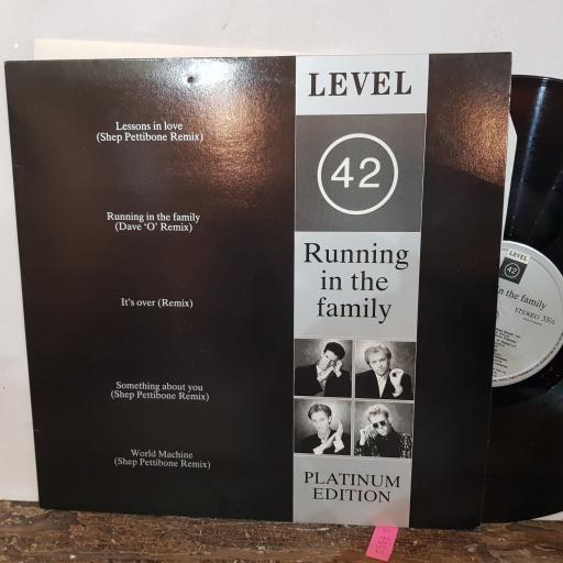 "LEVEL 42 Running in the family. PLATINUM EDITION, 12"" vinyl LP. POLHB42"