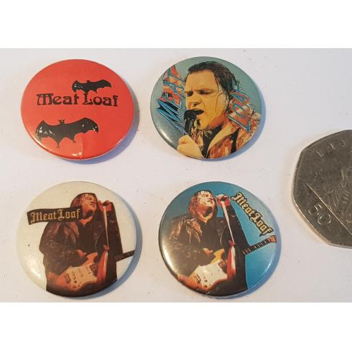 MEAT LOAF vintage tour badges SET OF 4