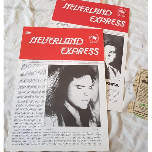 THE NEVERLAND EXPRESS Newsletter No.10 AND No.11 Published by the Meat Loaf fan club.
