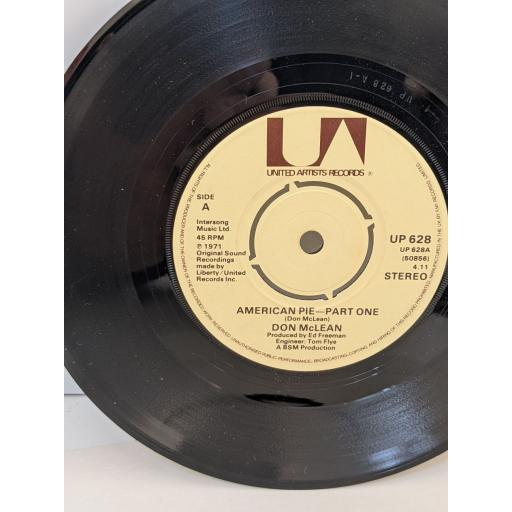 """DON McLEAN American pie, 7"""" vinyl SINGLE. UP628"""