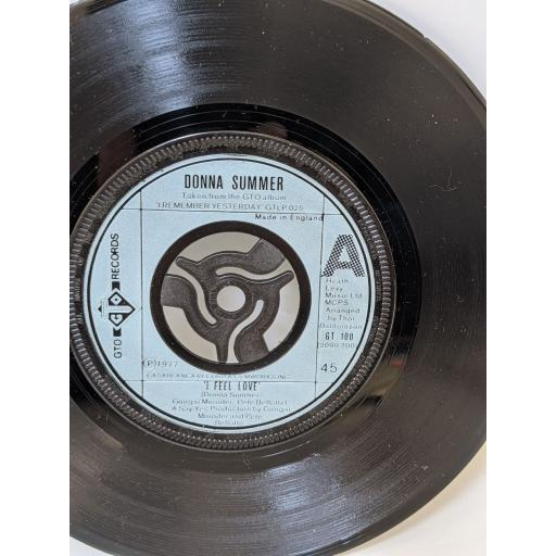 """DONNA SUMMER I feel love, Can't we just sit down (and talk it over), 7"""" vinyl SINGLE. GT100"""