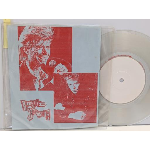 """DAVID BOWIE Press conference new york cat club 18 3 1987, 7"""" clear vinyl SINGLE. SPIDER2c"""