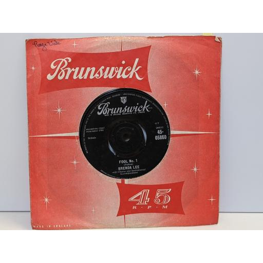 """BRENDA LEE Fool no.1, Anybody but me, 7"""" vinyl SINGLE. 4505860"""