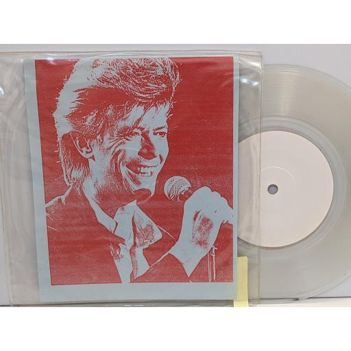 """DAVID BOWIE Press conference players theatre london 20 3 1987, 7"""" clear vinyl SINGLE. SPIDER1C"""