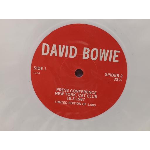 "DAVID BOWIE Press conference new york cat club 18 3 1987, 7"" white vinyl SINGLE. SPIDER2"