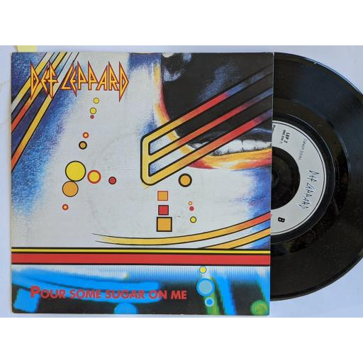 """DEF LEPPARD Pour some sugar on me, I wanna be your hero, 7"""" vinyl SINGLE. LEP2"""