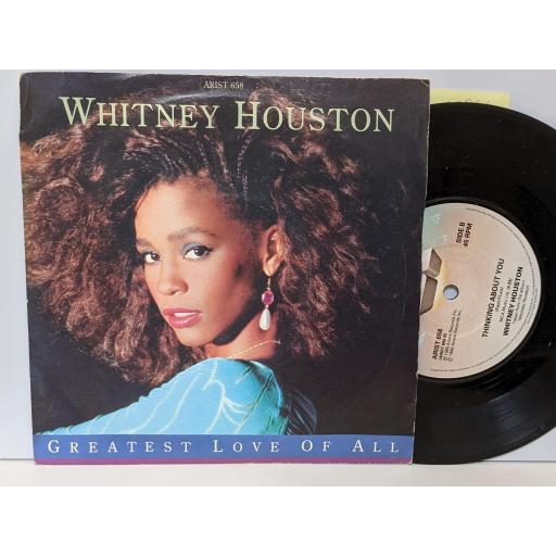 """WHITNEY HOUSTON Greatest love of all, Thinking about you, 7"""" vinyl SINGLE. ARIST658"""