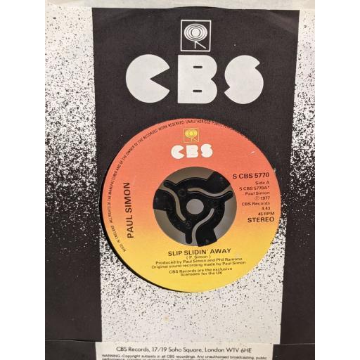 """PAUL SIMON Slip slidin' away, something so right, 7"""" vinyl SINGLE. SCBS5770"""