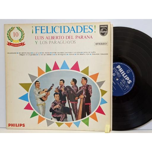 """LUIS ALBERTO DEL PARANA Y LOS PARAGUAYOS Felicidades!, 12"""" vinyl LP. 840217BY"""