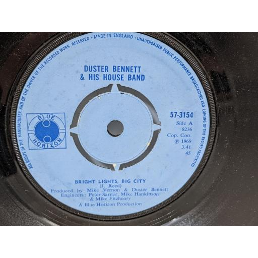 """DUSTER BENNETT AND HIS HOUSE BAND Bright lights big city, Fresh country jam, 7"""" vinyl SINGLE. 57154"""