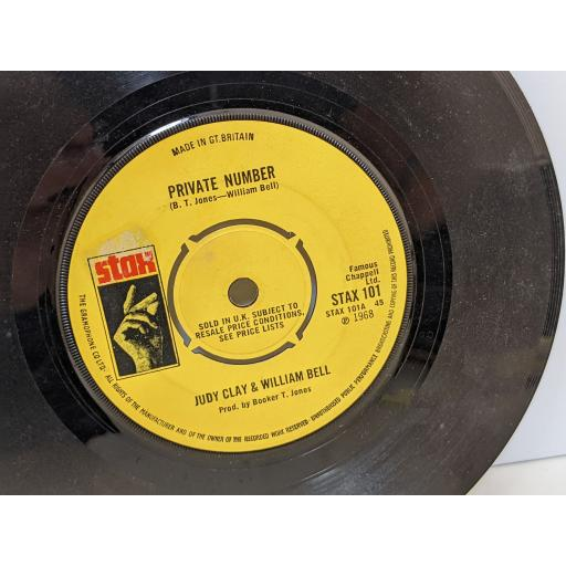 """JUDY CLAY AND WILLIAM BELL Private number, Love-eye-tis, 7"""" vinyl SINGLE. STAX101"""
