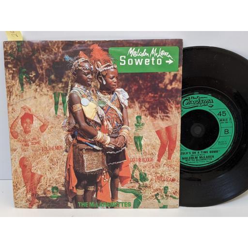 "MALCOLM McLAREN Soweto, Zulu's on a time bomb, 7"" vinyl SINGLE. MALC2"