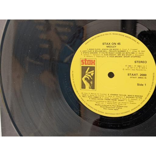 "VARIOUS Stax on 45 medley, 12"" vinyl LP. STAXT2000"