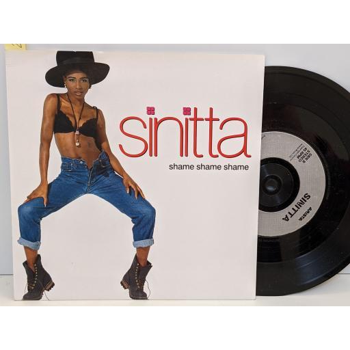 """SINITTA Shame shame shame, Maybe someday, 7"""" vinyl SINGLE. 74321100327"""